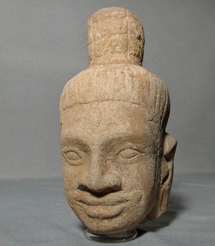 Antique Khmer Head of Divinity, Antique Sandstone