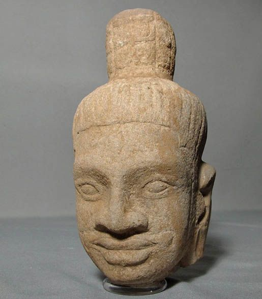 Antique Khmer Sandstone Head Of Shiva Bayon Period 12h century A.D.