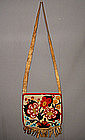 Antique North American Indian Beaded hide shoulder bag