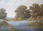 Robert Wood Texas Blue bonnets impressionist oil