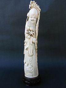 Chinese Ivory carved figure Shou Lao Longevity c.1900