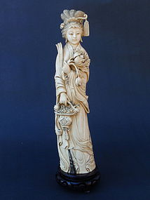 Chinese Ivory carved figure beautiful maiden c.1900