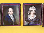 Antique Pair Portrait Miniatures oil Ivory signed 1823