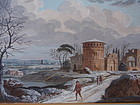 Italian Neapolitan Gouache landscape 19th century 2