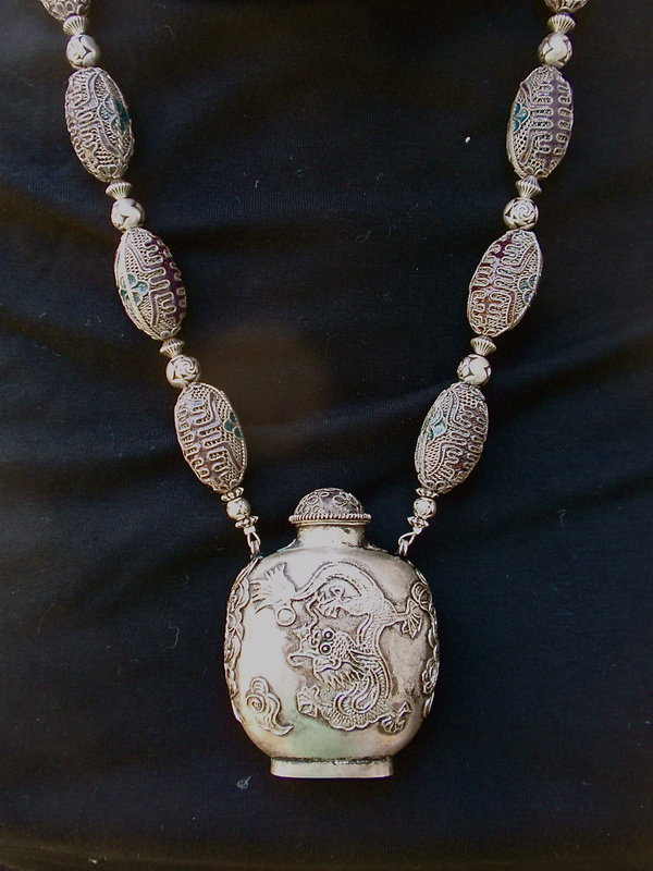 Chinese Silver Cloisonne Enamel Snuff bottle necklace