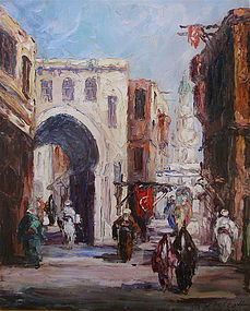 Orientalist street scene Leonid Gechtoff Russian art
