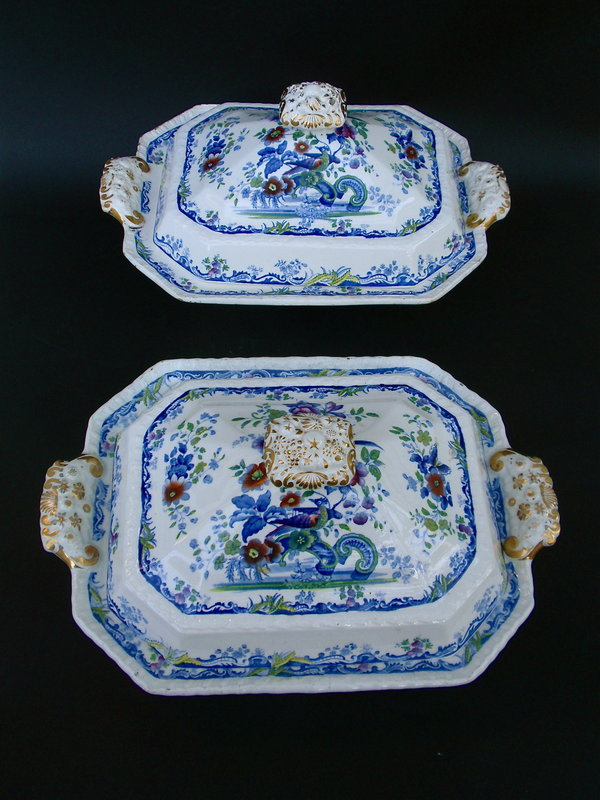Staffordshire Transferware covered serving dishes 1830