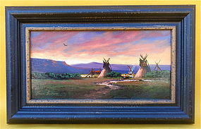 Heinie Hartwig Indian Camp at sunset Western art
