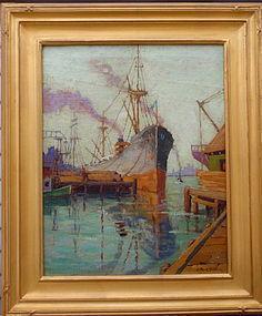 California Impressionist Harbor scene C Park Baldwin