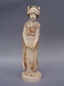Japanese Ivory Okimono Maiden Bride Meiji signed