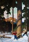 N.C. Wyeth original oil Lumber 1943 Illustration