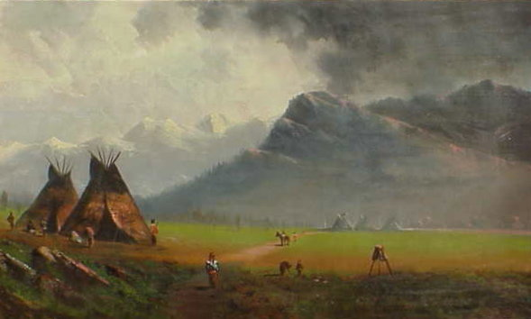 Indian Camp 19th century American Bierstadt school