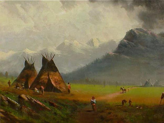 Indian Camp 19th century American Bierstadt school