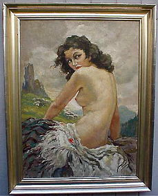 Yves Diey Art Deco Nude seated female oil painting