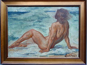 Emile Baes Nude at the Beach Original oil listed artist