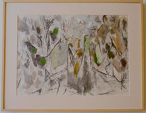 Harold C. Davies modernist abstract oil painting