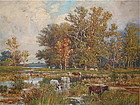 Thomas C Lindsay Landscape with cows oil painting