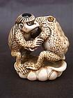 Japanese Ivory Netsuke Kappa & Frog wrestling signed