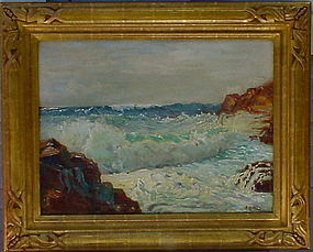 Anna A Hills Laguna Surf oil canvas board 1926