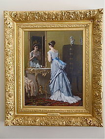 Gustave De Jonghe oil portrait Beautiful Woman interior