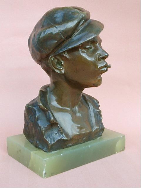 Antique Bronze Bust Boy with cigarette G. Martin