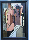 Claude Lacaze French Cubist nudes oil canvas