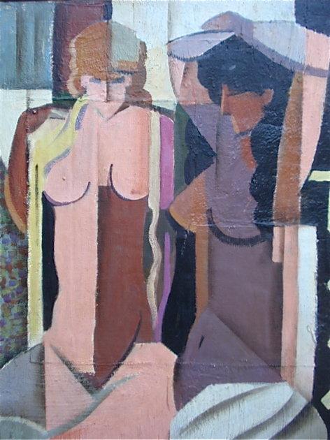 Claude Lacaze French Cubist nudes oil canvas