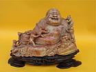 Chinese Buddha hotei shoushan stone carving