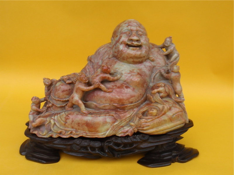 Chinese Buddha hotei shoushan stone carving