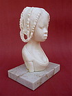 African carved Ivory Sculpture Woman tribal art