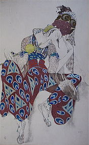 Leon Bakst Original watercolor pencil Peri Russian art