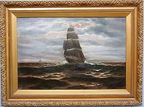 Mauritz Frederik Hendrik De Haas Ship in moonlight