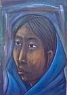 Rodolfo Nieto Mexican Modernist Portrait Woman