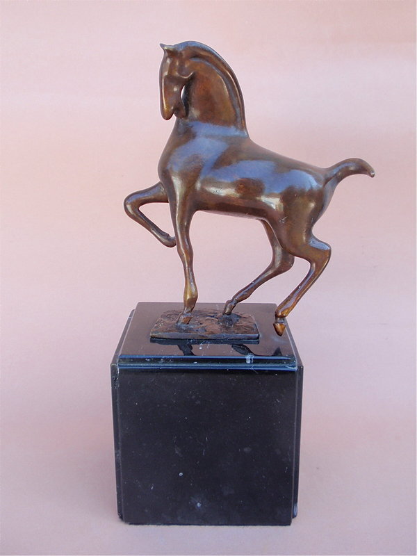Mexican Modernist H. Juarez bronze horse sculpture