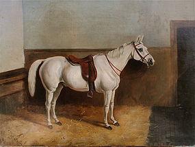 Portrait Horse In Stable W. Bath English c.1880