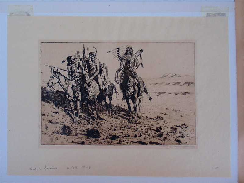 Edward Borein signed etching Sioux Indian scouts