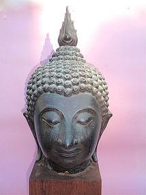 Bronze Head of Buddha Thailand Sukhotai large