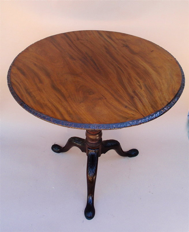 Antique Irish Chippendale carved tilt top tea table