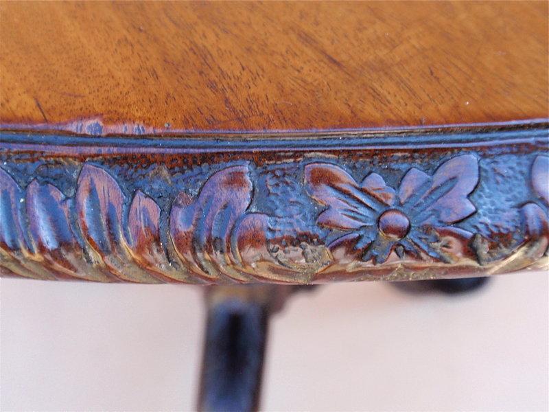 Antique Irish Chippendale carved tilt top tea table