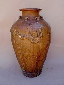 Chinese Ming Dynasty storage Jar Dragon 35 in.