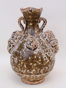 Chinese Song Dynasty pottery Vase frog & foo dog