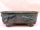 Japanese Bronze Ikebana planter Dragon
