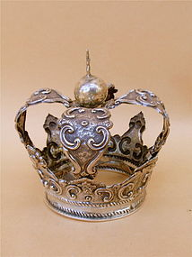 Spanish Colonial sterling silver Crown Santo Mary