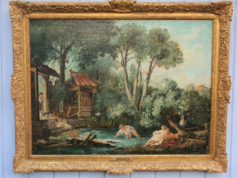 François Boucher bathers in a stream oil painting 1700s