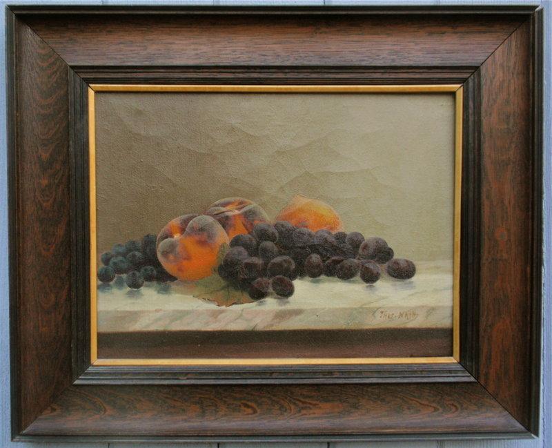 Thomas Nash still life painting peaches grapes