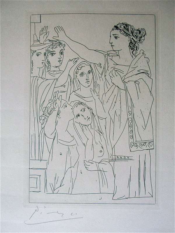 Pablo Picasso Oath the Women of Lysistrata etching