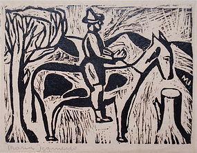 María Izquierdo woodblock print Mexican modernist