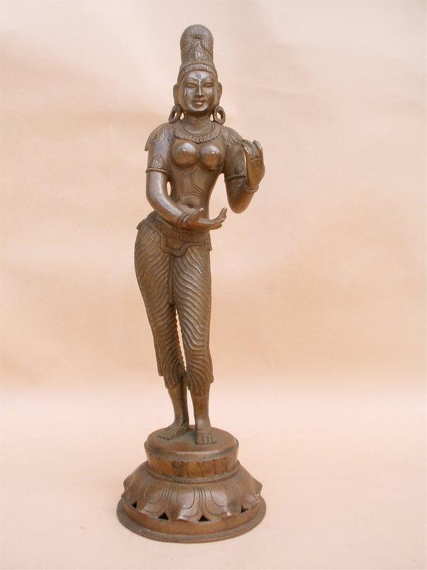 Indian Hindu bronze statue female Deity India