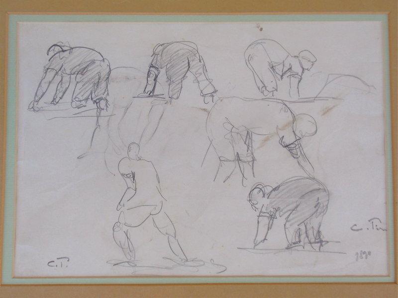 Camille Pissarro pencil drawing figural study 1890