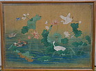 Antique Chinese Painting on silk birds lotus pond